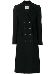 Dondup Pamily Double Breasted Coat Acetate Viscose Cashmere Virgin Wool Black