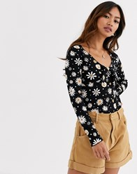 Pimkie Tie Detail V Neck Floral Top In Black