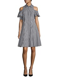 Saks Fifth Avenue Cold Shoulder Gingham Shirtdress Black White