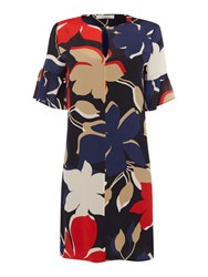 Marella Alare Bold Floral Print Bell Sleeve Shift Dress Red