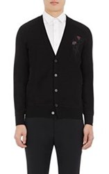 Alexander Mcqueen 'Dripping Flower' Embroidered Cardigan Black
