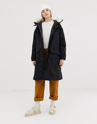 Weekday Oversized Parka With Faux Fur Hood Black
