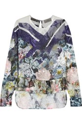 Preen By Thornton Bregazzi Neo Floral Print Devore Silk Blend Chiffon Top Blue