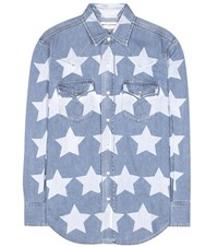 Saint Laurent Printed Denim Shirt Blue
