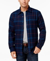 Club Room Men's Big And Tall Long Sleeve Plaid Shirt Only At Macy's Vibrant Navy