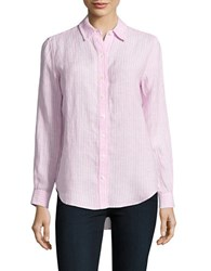 Lord And Taylor Petite Striped Linen Shirt Red