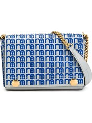 Anya Hindmarch Gold Tone Chain Strap Crossbody Bag Blue
