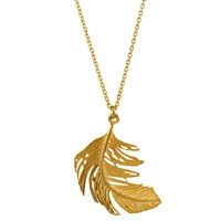 Alex Monroe Big Single Feather Pendant Necklace Gold