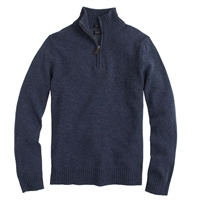 J.Crew Slim Lambswool Half Zip Sweater Hthr Navy