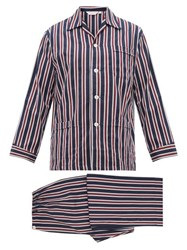 Derek Rose Royal Stripe Cotton Pyjamas Navy Multi