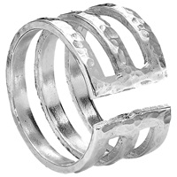 Dower And Hall Sterling Silver 12Mm Triple Band Ring Silver