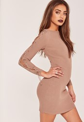 Missguided Lace Up Sleeve Mini Dress Nude Taupe