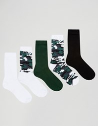 Asos Sports Style Socks With Camo Design 5 Pack Multi