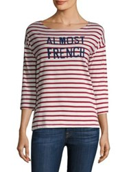Sundry Maritime Stripe Almost French Tee Red Stripe