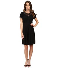 Rebecca Taylor Stained Glass Lace Short Sleeve Dress Black Women's Dress