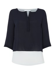 Hugo Boss Double Layer Long Sleeve Colour Block Blouse Blue
