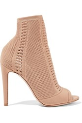 Gianvito Rossi Vires Perforated Stretch Knit Peep Toe Ankle Boots Sand