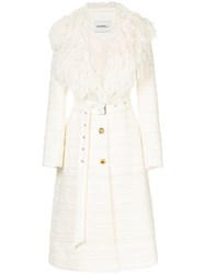 Goen.J Fringed Lapel Belted Coat Cotton Acrylic Bemberg White