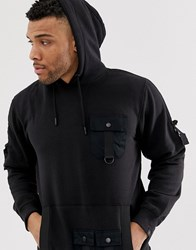 Soul Star Utility Multi Pocket Hoodie In Black