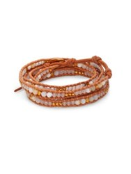 Chan Luu White Opal White Jade And Leather Beaded Wrap Bracelet Brown
