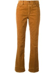 Closed Mid Rise Flared Trousers Brown