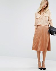Boss Orange Bronze Pleated Midi Skirt Bronze Metalic Copper