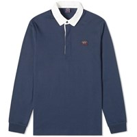 Paul And Shark Contrast Collar Rugby Shirt Blue