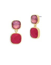 Anne Klein Epoxy Stone Goldtone Square Drop Earrings Coral