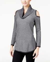 Styleandco. Style Co. Cowl Neck Cold Shoulder Sweater Only At Macy's Black Grey