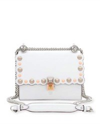 Fendi Kan I Mini Scalloped Studded Chain Shoulder Bag White White Pattern