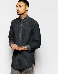 Asos Shirt With Zip Detail In Heavy Wash With Long Sleeves Grey