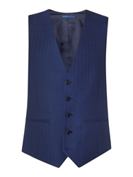 New And Lingwood Anderby Herringbone Suit Waistcoat Blue
