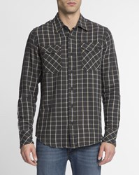 Nudie Jeans Khaki White Check Pocket Gunnar Shirt