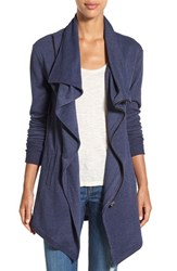 Caslonr Petite Women's Caslon Asymmetrical Drape Collar Terry Jacket Heather Navy Peacoat