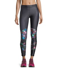 Terez Gemstone Crystal Skull Performance Leggings Black Pattern
