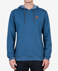 Volcom Men's Pull Over Hoodie Blue Smoke