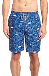Peter Millar Hawaiian Express Swim Trunks Blue