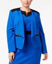 Nine West Plus Size Open Front Blazer Blue Mood