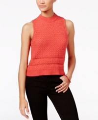 Jessica Simpson Mixed Knit Sleeveless Sweater Bright Red