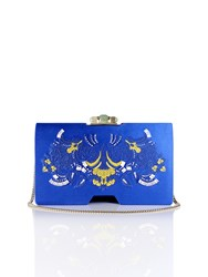 Shanghai Tang Palm Embroidery Silk Bamboo Clutch Royal Blue