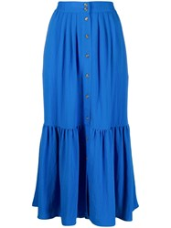 Closed Button Down Skirt Blue