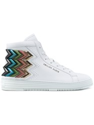 Philipp Plein Metallic Chevron 'Seventy' Hi Top Sneakers White
