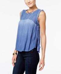 American Rag Embroidered Dip Dyed Tassel Top Only At Macy's Bleached Denim