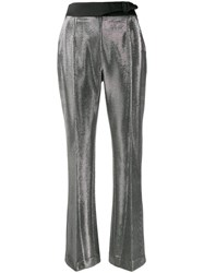 Ermanno Scervino High Waisted Metallic Trousers Silver