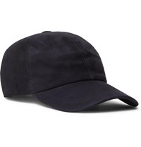 Brunello Cucinelli Leather Trimmed Suede Baseball Cap Blue