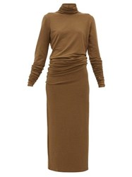 Christophe Lemaire Roll Neck Stretch Jersey Maxi Dress Brown