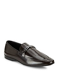 Versace Leather Slip On Loafers Dark Brown