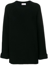 Red Valentino Crew Neck Jumper Virgin Wool Black