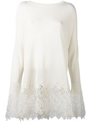 Ermanno Scervino Embroidered Hem Jumper Women Polyester Viscose 40 White