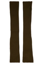 M Missoni Ribbed Wool Fingerless Gloves Army Green